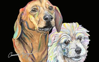 Sophie and Poochie Rainbow Pet Painting by Amanda Zirzow