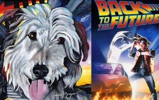 Back to the Future Einstein dog painting for Arts for Act Gala and art auction