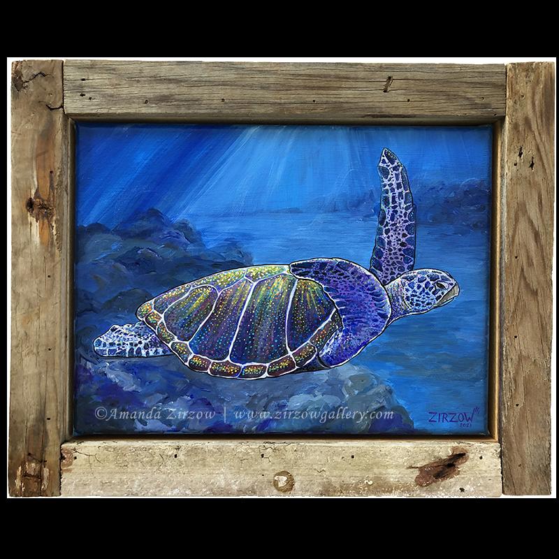 Good Vibrations Sea Turtle Original Art by Amanda Zirzow